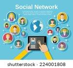 social media network concept... | Shutterstock .eps vector #224001808