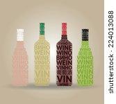 set of typographic wine bottles ... | Shutterstock .eps vector #224013088