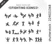 fighting icons set. | Shutterstock .eps vector #224021368