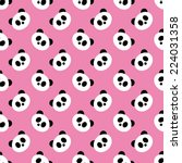 seamless pink panda pattern... | Shutterstock .eps vector #224031358