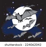 group of flying bats in night... | Shutterstock .eps vector #224062042