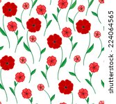 red  poppies on a white... | Shutterstock .eps vector #224064565