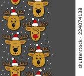 reindeer faces in santa claus... | Shutterstock .eps vector #224074138