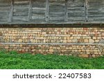 Wall Of Village Stone And Wood...