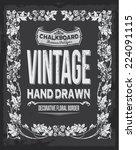 vintage chalkboard floral... | Shutterstock .eps vector #224091115