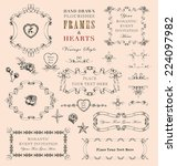 hand drawn vintage style frames ... | Shutterstock . vector #224097982