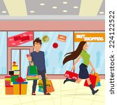 young people in the shop run by ... | Shutterstock .eps vector #224122522