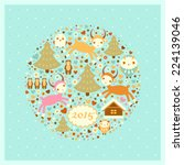 vector new year's card with... | Shutterstock .eps vector #224139046