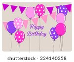 birthday card with colorful... | Shutterstock .eps vector #224140258
