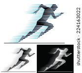 Silhouettes Of Running Athlete...