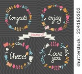 vector set of floral wreaths in ... | Shutterstock .eps vector #224180302