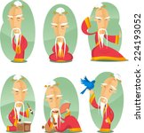 chinese old wise sage cartoon... | Shutterstock .eps vector #224193052