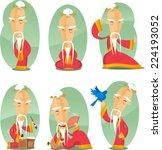 Chinese Old Wise Sage Cartoon...