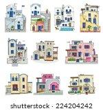 Set Of Hotels On Santorini...
