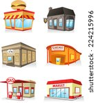 public building cartoon set ... | Shutterstock .eps vector #224215996