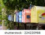 Colorful Antique Mailboxes On...