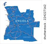 angola map | Shutterstock .eps vector #224227162