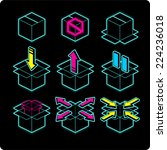 box neon light icons  with... | Shutterstock .eps vector #224236018
