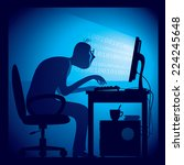 a hacker in a dark room sitting ...   Shutterstock .eps vector #224245648
