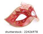 Red Venetian mask shot over white background - stock photo