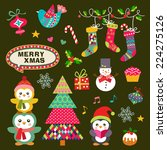 vector set of christmas symbols ... | Shutterstock .eps vector #224275126