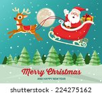 santa claus on sleigh with... | Shutterstock .eps vector #224275162