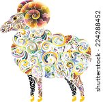 cheerful ram  bright  | Shutterstock .eps vector #224288452
