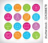 education icons set  colorful... | Shutterstock .eps vector #224288878