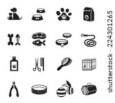 Stock vector b w icons set pet cat dog object 224301265
