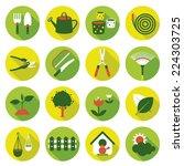 flat icons set   garden object | Shutterstock .eps vector #224303725