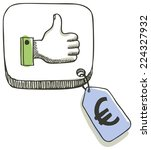 thumbs up button with euro... | Shutterstock .eps vector #224327932