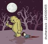 a monster teddy bear dragging a ...   Shutterstock .eps vector #224330455