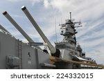 HONOLULU, HAWAII - OCTOBER 6, 2012: The Battleship USS Missouri at anchor in Pearl Harbor, Hawaii.