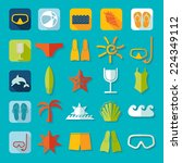 set of summer tourism icons | Shutterstock .eps vector #224349112