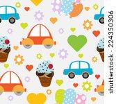 cute cartoon car seamless... | Shutterstock .eps vector #224350306