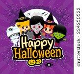 cute happy halloween text... | Shutterstock .eps vector #224350522
