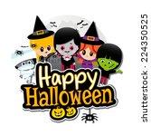 happy halloween text banner... | Shutterstock .eps vector #224350525