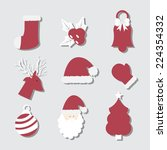 christmas icon set | Shutterstock .eps vector #224354332
