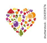 fruit icons in heart | Shutterstock .eps vector #224359276