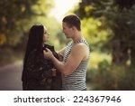woman and soldier in a military ... | Shutterstock . vector #224367946
