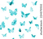 seamless watercolor butterflies ... | Shutterstock .eps vector #224370532