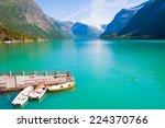 beautiful glacial lake in norway | Shutterstock . vector #224370766