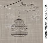 birdcage on the fabric... | Shutterstock .eps vector #224378245