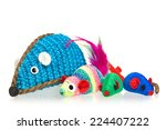 Stock photo toy mice for little kitten isolated on white background 224407222