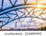 Speer Boulevard Platte River Bridge in Denver Colorado, United States. - stock photo