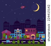 city street scape night... | Shutterstock .eps vector #224415142