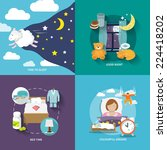 sleep time icons flat set with... | Shutterstock .eps vector #224418202