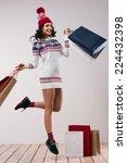 christmas shopping. pretty...   Shutterstock . vector #224432398