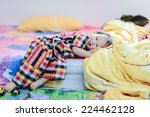 happy asian baby on bed. | Shutterstock . vector #224462128