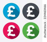 Pound sign icon. GBP currency symbol. Money label. Circle buttons with long shadow. 4 icons set. Vector
